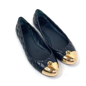 Tory Burch Kaitlin Flats Gold Toe Quilted Black 8